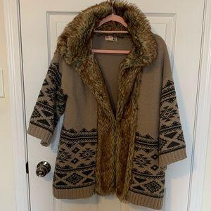 Beautiful faux fur sweater jacket